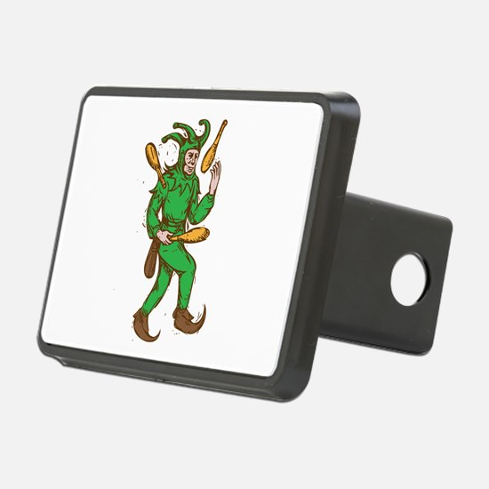 Medieval Jester Juggling Wooden Pins Drawing Hitch