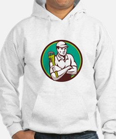 Plumber Monkey Wrench Arms Crossed Circle Retro Ho