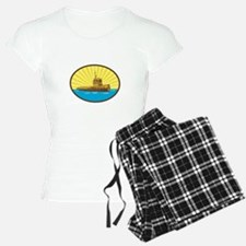 River Tugboat Oval Woodcut Pajamas