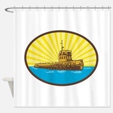 River Tugboat Oval Woodcut Shower Curtain