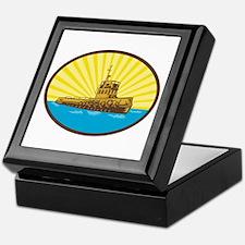River Tugboat Oval Woodcut Keepsake Box