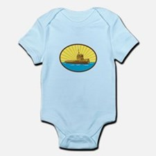 River Tugboat Oval Woodcut Body Suit