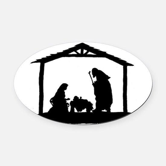 Nativity Oval Car Magnet