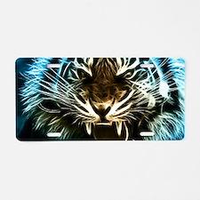 Fractal Tiger Art Aluminum License Plate