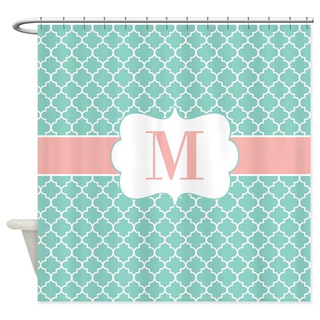 teal coral quatrefoil monogram shower curtain by