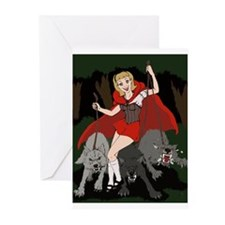 Moonlight Werewolves Red Greeting Cards (Pk of 20)