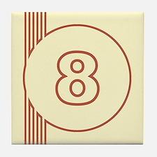 Yellow Art Deco Number 8 Decorative Ceramic Tile