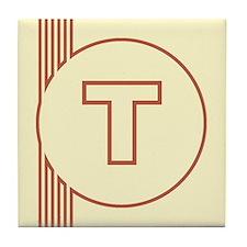 Yellow Art Deco Letter T Decorative Ceramic Tile