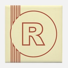 Yellow Art Deco Letter R Decorative Ceramic Tile