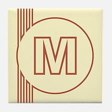 Yellow Art Deco Letter M Decorative Ceramic Tile