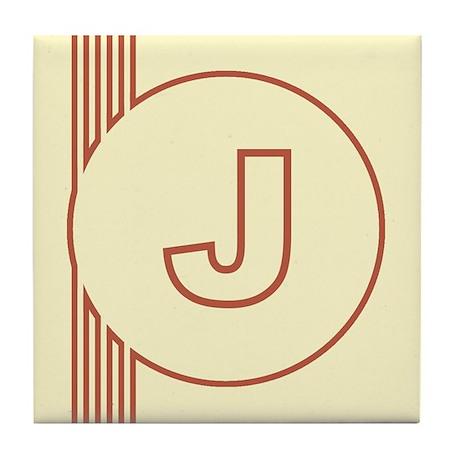 Yellow Art Deco Letter J Decorative Ceramic Tile