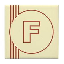 Yellow Art Deco Letter F Decorative Ceramic Tile