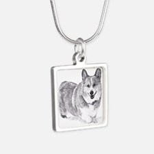 Red and White Welsh Corgi in the Snow Necklaces