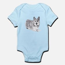 Red and White Welsh Corgi in the Snow Body Suit