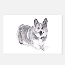 Red and White Welsh Corgi in the Snow Postcards (P
