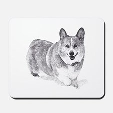 Red and White Welsh Corgi in the Snow Mousepad