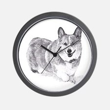 Red and White Welsh Corgi in the Snow Wall Clock