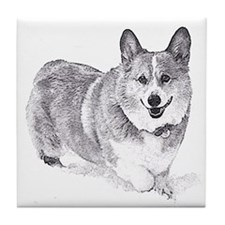 Red and White Welsh Corgi in the Snow Tile Coaster