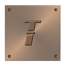 Faux Copper Letter T Decorative Ceramic Art Tile
