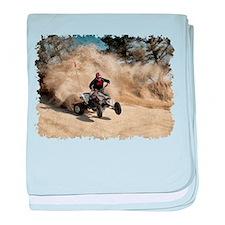 ATV on Dirt Road in Dust Cloud w/Edge baby blanket