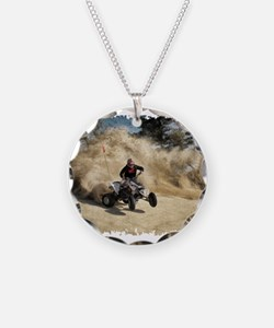 ATV on Dirt Road in Dust Clo Necklace