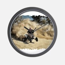 ATV on Dirt Road in Dust Cloud w/Edges Wall Clock