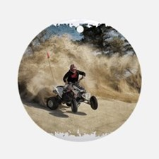 ATV on Dirt Road in Dust Cloud w/Ed Round Ornament
