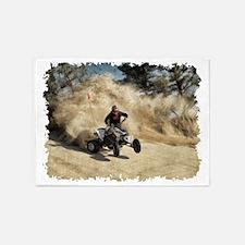ATV on Dirt Road in Dust Cloud w/Ed 5'x7'Area Rug