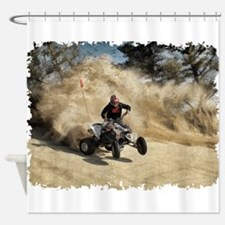 ATV on Dirt Road in Dust Cloud w/Ed Shower Curtain