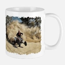 ATV on Dirt Road in Dust Cloud w/Edges Mugs