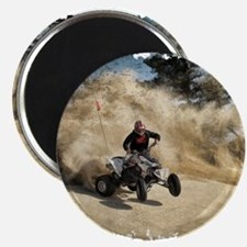 ATV on Dirt Road in Dust Cloud w/Edges Magnets
