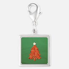 Bacon Christmas Tree Silver Square Charm