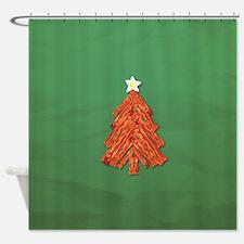 Bacon Christmas Tree Shower Curtain