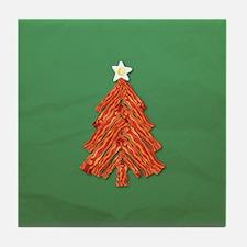 Bacon Christmas Tree Tile Coaster