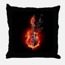 Flaming Guitar Throw Pillow
