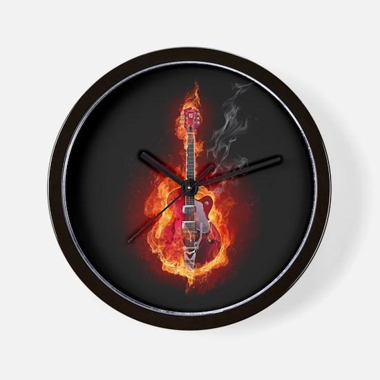 Flaming Guitar Wall Clock