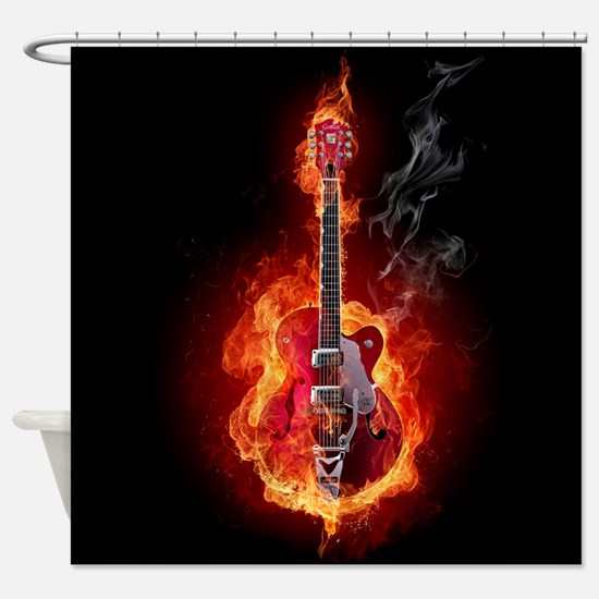 Flaming Guitar Shower Curtain