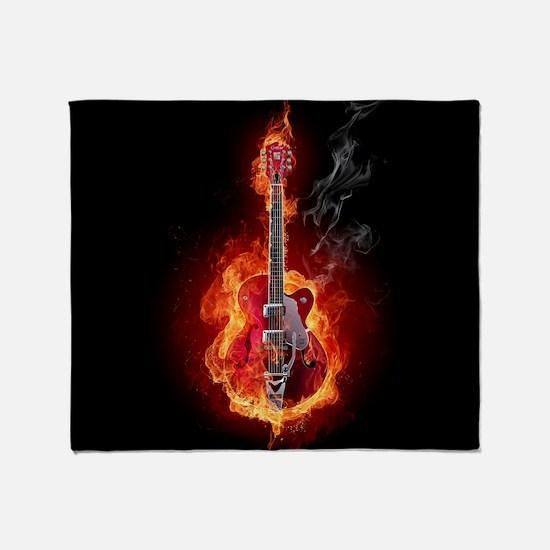 Flaming Guitar Throw Blanket