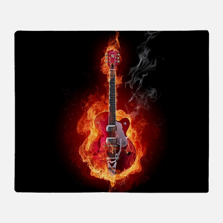 Flaming Guitar Throw Blanket