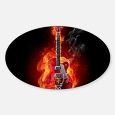 Flaming Guitar Decal