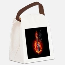 Flaming Guitar Canvas Lunch Bag