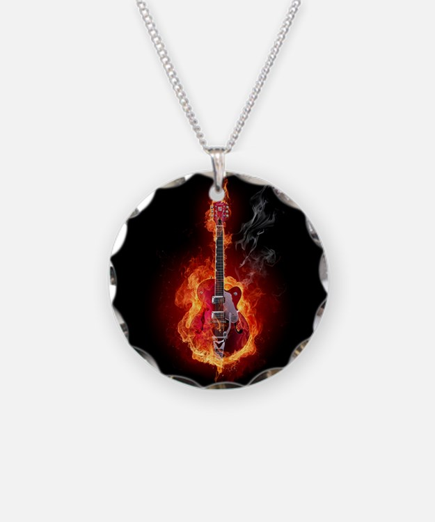 Flaming Guitar Necklace