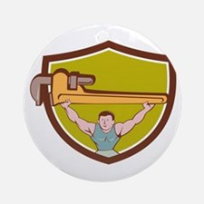 Plumber Weightlifter Monkey Wrench Crest Cartoon R