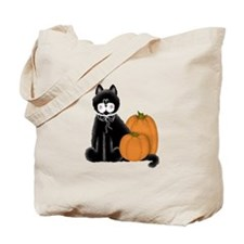 Black Cat and Pumpkins Tote Bag