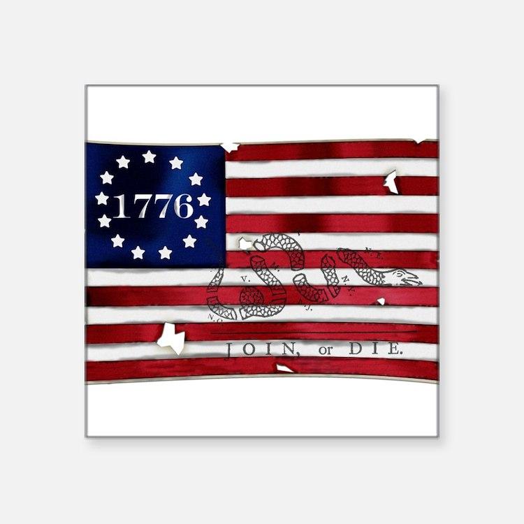 "Cute Revolutionary war Square Sticker 3"" x 3"""