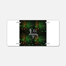 space man and moon walk 2 Aluminum License Plate