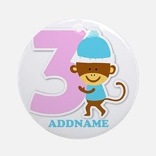 3rd Birthday Personalized Name Round Ornament