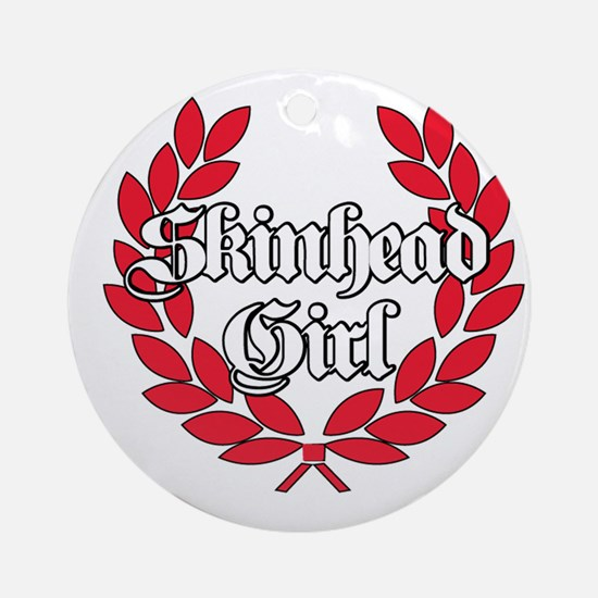 Skinhead Girl Red Round Ornament