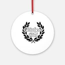 Skinhead Girl Black Round Ornament