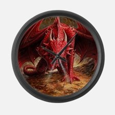 Angry Red Dragon Large Wall Clock